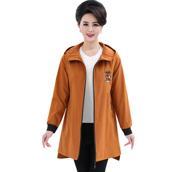 Moda Uzun Kollu Kapşonlu Trençkot 2019 İlkbahar Sonbahar Fermuar Artı Boyutu 5XL Uzun Ceket Kadın Palto Giyim Giyim