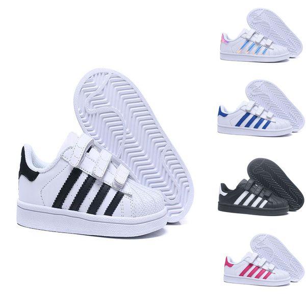 lowest price sneakers designer fashion Großhandel 2018 Adidas Superstar Kinder Superstar Schuhe Original Weiß Gold  Baby Kinder Superstars Turnschuhe Original Super Star Mädchen Jungen Sport  ...