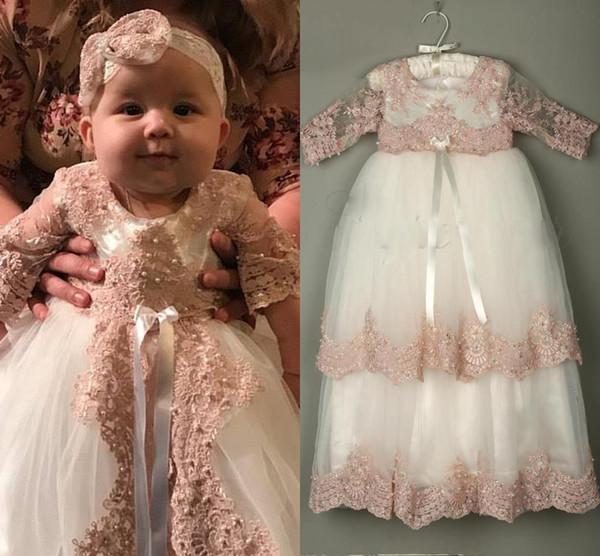 2019 3/4 vestidos de bautizo de manga larga para niñas de encaje apliques de perlas vestidos de bautismo con bonete vestidos de primera comunión santa