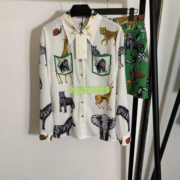 donne di fascia alta ragazze della camicia insieme collo patchwork animale stampa bavero manica lunga camicia tee cime mini una linea di gonna corta vestito fashion design