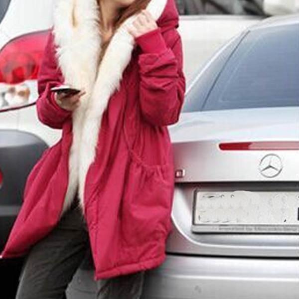 Luxury Fur Collar Hooded Long Coat Outwear Winter Parkas Women 2018 Faux Fur Warm Jacket Overcoat Thick Plus Size Cotton Female