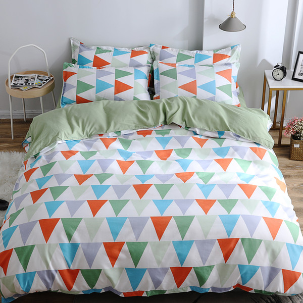 Family bedclothes flat bed sheet geometric Bedding Set Soft Comfortable for Home Duvet Cover Set Twin Full Queen King Size