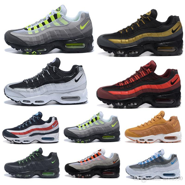 nike air max 95 airmax Homens Designers Running Shoes Laser Fuchsia Red Orbit Bred do Aqua Neon Triplo preto branco dos homens treinadores desportivos Sneakers Tamanho 7-12 KIL9