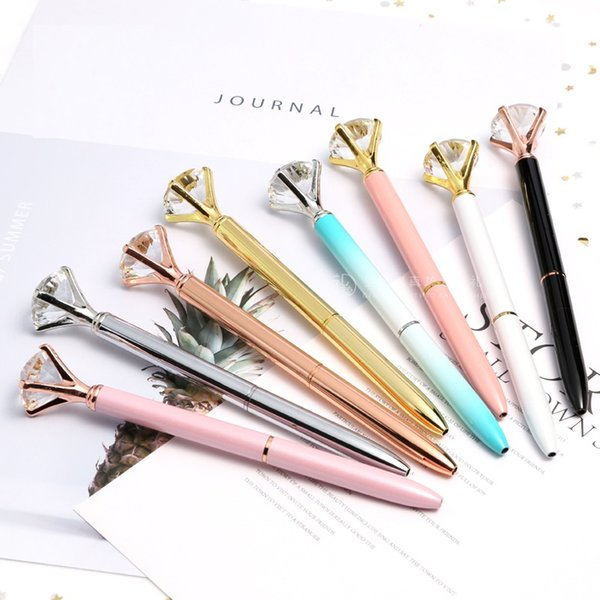 beautiful diamond ball Pen Crystal Gem Ballpoint pen customized logo wedding office Metal ring roller ball pen office supplier