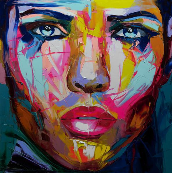 Dipinto a mano Palette coltello ritratto ritratto Palette coltello Francoise Nielly Volto Astratto Olio su tela Impasto figura su tela Decor FN62