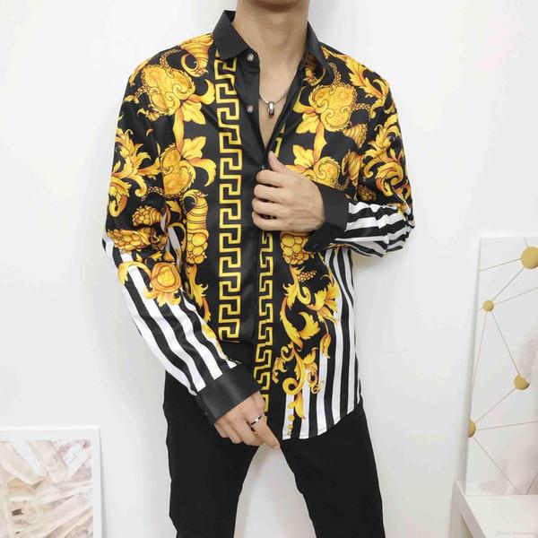 CALIENTE a estrenar de los hombres delgados camisa de flores de impresión en color retro ocasional Harajuku camisas de lujo de los hombres camisas medusa M-2XL