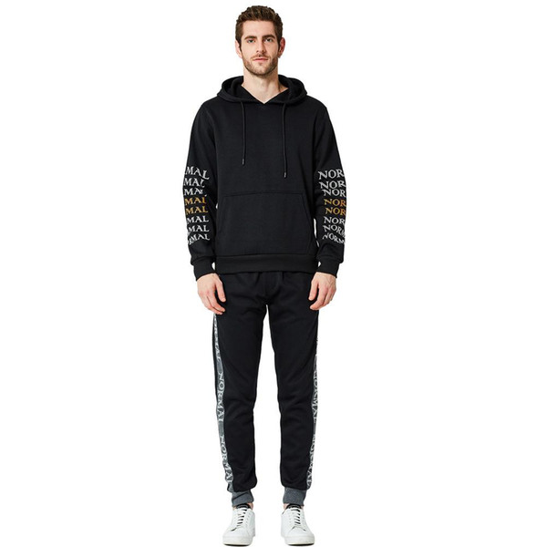 Mens women hood coat pullover suit autumn and winter new men's large size suit casual sports two-piece suit youth print sweater