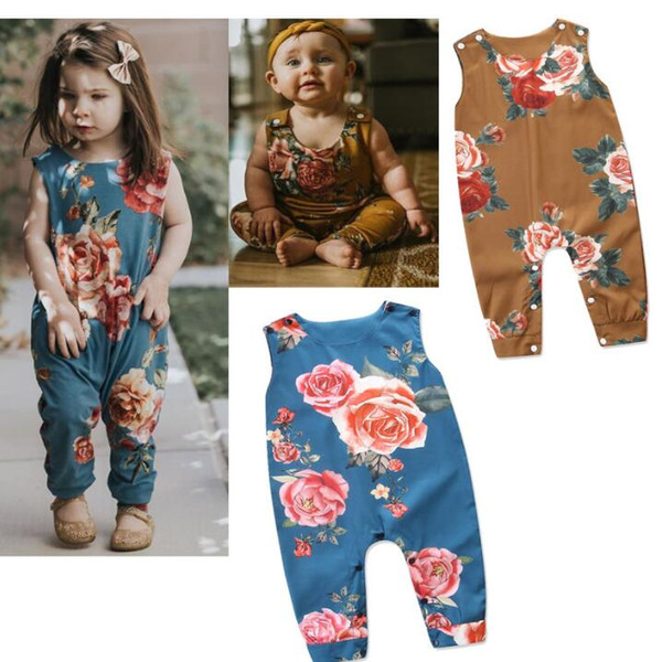 baby ins romper Girls Flowers Sleeveless Romper Playsuit Clothes Outfits Romper Jumpsuit Clothes Floral Playsuit LJJK1177