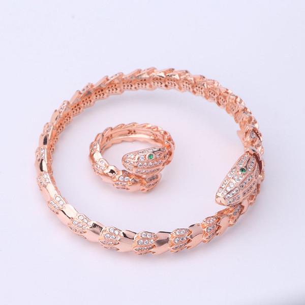 Diseñador exquisitos anillos de boda pulseras anillos de moda caliente pulseras de lujo de calidad superior brazaletes de la serpiente oro plata rosa brazalete amante regalo