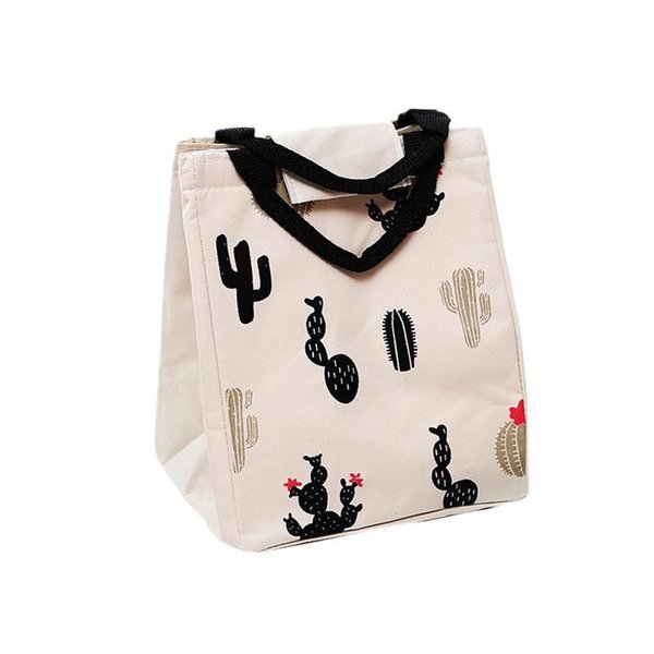 Fashion Cute Canvas Lunch Bag For School Student Insulated Food Storage Tote Hand Bags For Kids Women Female Girls Lunch Bag