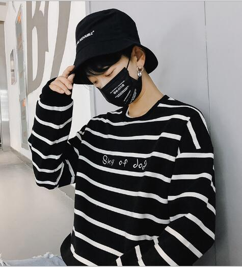 Black and White Stripe Sanitary Clothes for Men in Spring and Autumn Period, Loose Harbor Style, Round-necked Men in Korean Edition, Fashio