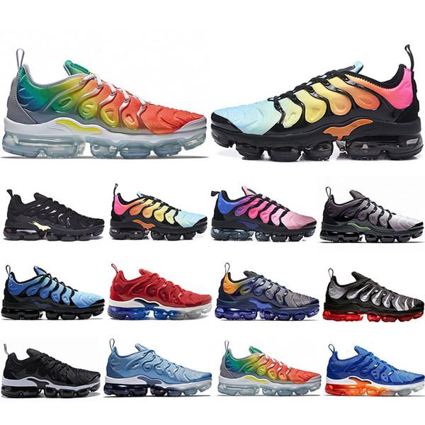 Free Shipping TN Plus Zapatos para correr Hombres Mujeres Juego Royal Rainbow blanqueado aqua TRIPLE BLANCO NEGRO Se desvanece azul VOLT Trainer Designer Sneakers