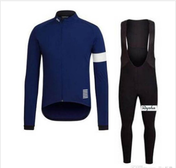 HOT SALE RAPHA team Cycling long Sleeves jersey (bib) pants sets Anti_UV cycling jersey sets Spring Autumn sport suit Simple and comfortable