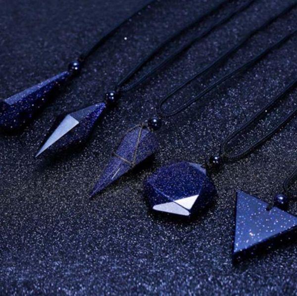 Tasarımcı takı çift kolye altıgen yıldız bluestone enerji kehanet kristal kolye kolye kadınlar için sıcak moda