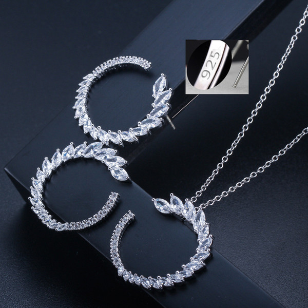 KI0065 Hot Selling S925 Silver Needle Bright Horse Eye Zircon Jewelry Fashion Hundred Necklace Earrings Suit