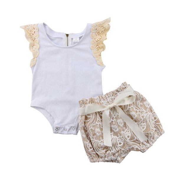 0-18M Cute Newborn Baby Girl Fly Sleeve White Bodysuit Tops Lace Flower Shorts 2PCS Outfits Princess Girls Clothing Set