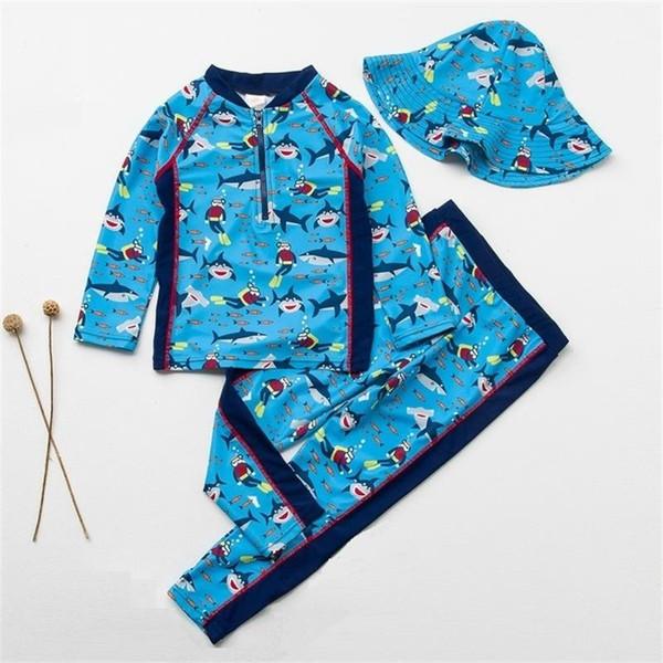 Kids Swimsuit Boys Baby Anti UV Swimwear Children Two-pieces Bath Suit Infant Blue Shark Quality Beachwear 2-9Years