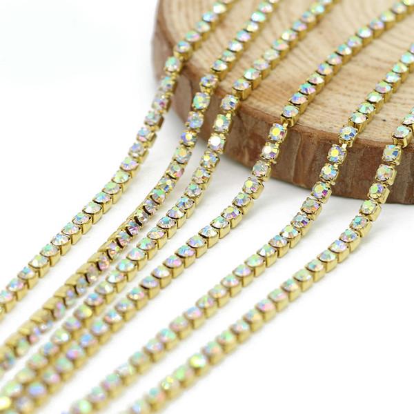 Rhinestone Chain Trim 10 meter / roll for Wedding Dress Rhinestone Cup Chain Good Quality Hot Sale