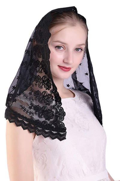 Handcrafted embroidered Lace Veil Mantilla Catholic Church Chapel Veil Head Covering Latin Mass