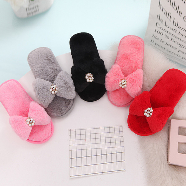 C19114 Children Girl Bow Slippers Spring Autumn Winter Plush Slippers Female Faux Fur Slides Flip Flops Flat Shoes
