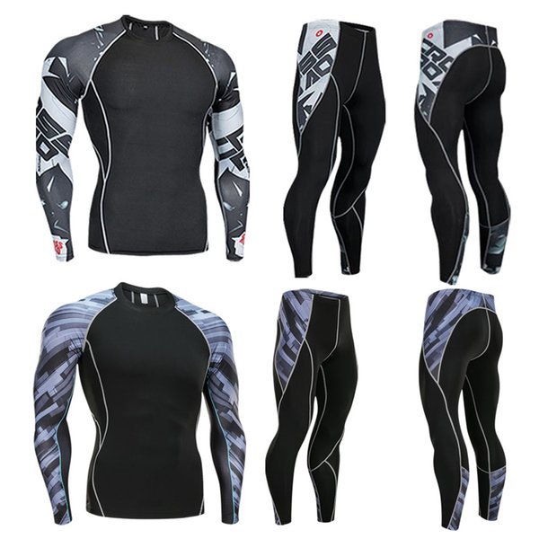 2019 20 3D bone marrow printing men's compression sports suit fitness running warm sports suit men's sportswear brand clothing