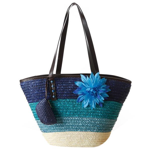 Knitted Straw bag Summer flower Bohemian fashion women's handbags color stripes shoulder bags beach bag big tote bags(Blue)