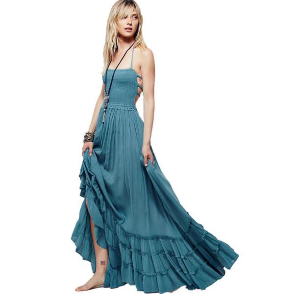 Boho Chic Long Dress Halter Chiffon Women Backless 2019 Maxi Dresses Beach Wear Mori Girl Vestidos Sexy Split Beach Summer Dress