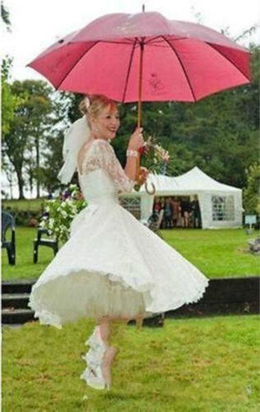 2019 New Short Lace Long Sleeves Wedding Dresses Bateau Appliques A Line Cheap Custom Modest Beach Bridal Gowns Vestidos De Noiva
