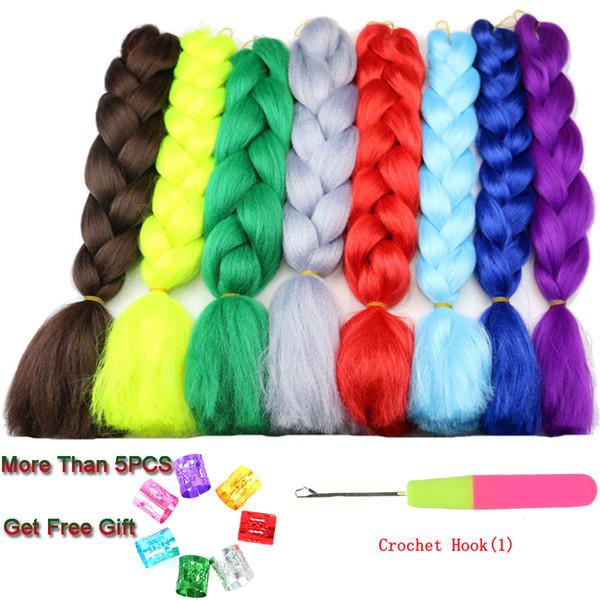 60CM Jumbo tranças Synthetic fazer tranças no cabelo extensões para Mulheres 100g / peça Crochet Tranças Kanekalon várias cores para American Africano