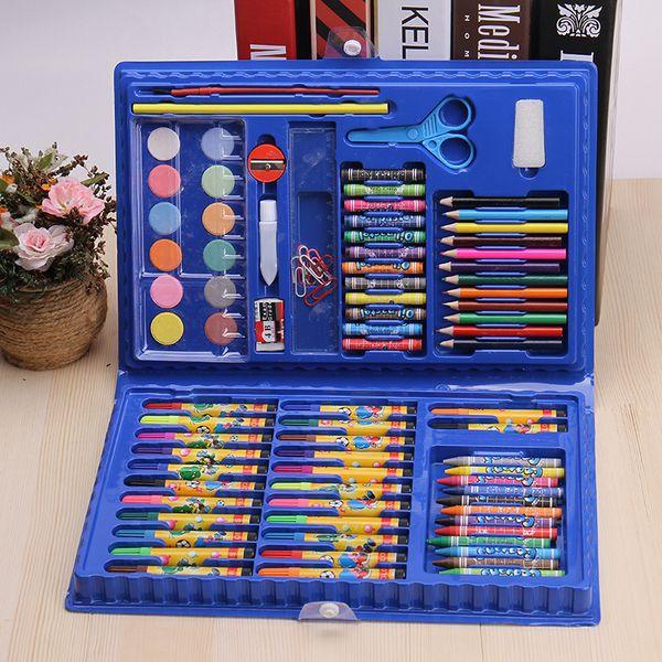 86 Pçs / set Crianças Brinquedos Educativos Conjunto de Ferramentas de Pintura Desenho Graffiti Brinquedos Aquarela Caneta Criativa Pintura Suprimentos Conjuntos de Arte