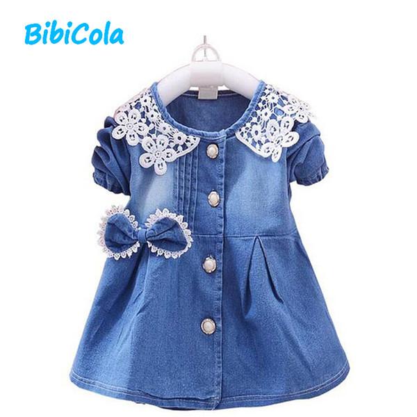 Iyi qulaity İlkbahar Sonbahar Yeni Stil Dantel Kot Elbise Bebek Kız yenidoğan Giyim Uzun Kollu Papyon Bebek Kızlar Için Rahat Giysiler