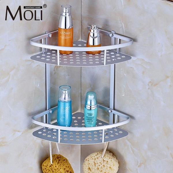 Space Aluminum Bathroom Shelf Shower Shampoo Soap Cosmetic Shelves Bathroom Accessories Storage Organizer Rack Holder T8190626