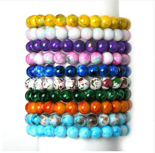 High Quality 8MM Handmade Natural Stone Stretch/Elastic Rope Glass Beads Charms Bracelets for Women Fashion Jewelry Gifts