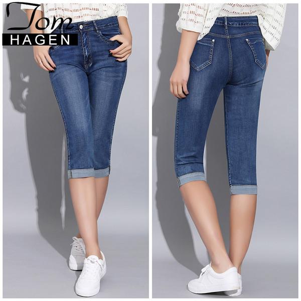 Pantalones vaqueros pitillo de verano Pantalones de mujer con cintura alta Pantalones vaqueros Mujer Talla grande Denim Mujer Estiramiento hasta la rodilla