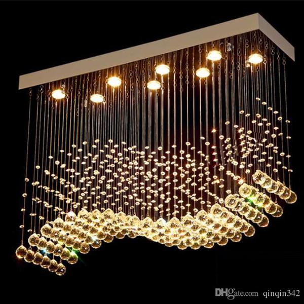 DHL K9 Lustres LED Chrome fini Light Wave Art Décor moderne Suspension d'éclairage Hôtel Villa Lampe suspendue