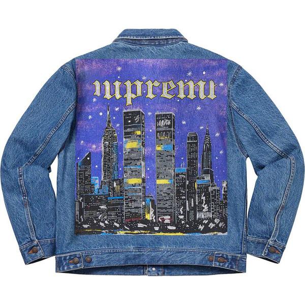 19SS New York Painted Trucker Jacke Jeansjacke Hochwertige Highstreet Fashion Damen Und Herren Designer Jacke HFBYJK167