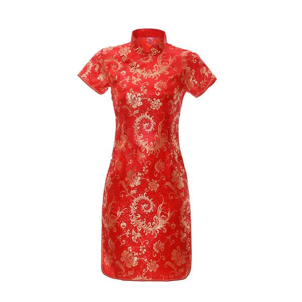 Mini del partito di stile cinese delle donne abito da sera in maglia Fiore sexy mandarino colletto a maniche Cheongsam Qipao novità Vestidso