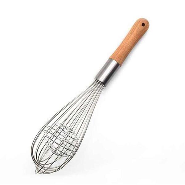 Manche en bois Manuel Egg Beaters Outils de cuisine Mélangeur oeuf main cuisson Foamer cuisinier Blender Fouet Fouet outil ZZA1707-1