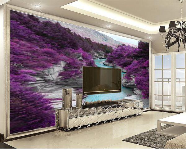 Home Decor 3d Wallpaper A Purple Flower Sea Romantic Landscape Living Room  Bedroom Background Wall Decoration Mural Wall Paper Photography Desktop ...