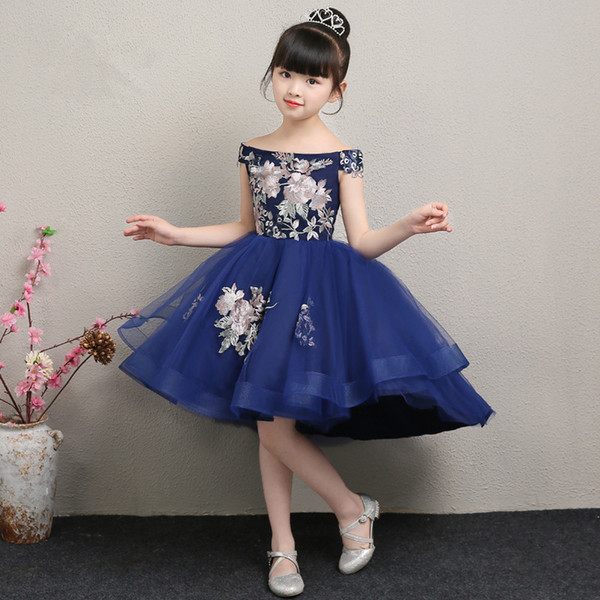 Çocuklar için nakış Çiçek Elbise Prenses Resmi Elbiseler Çiçek Çocuklar Düğün Akşam Balo Elbisesi Kızlar Noel Partisi Giyim