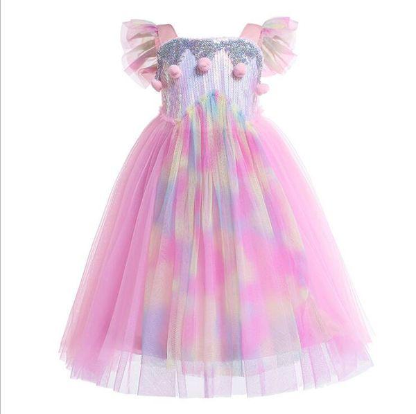 Bebek Kız Unicorn Kızlar için Renkli Elbise Yaz Sequins Peluş Topu Giyim Giyim Cosplay Kostüm Cadılar Bayramı Noel Partisi 3-8Y