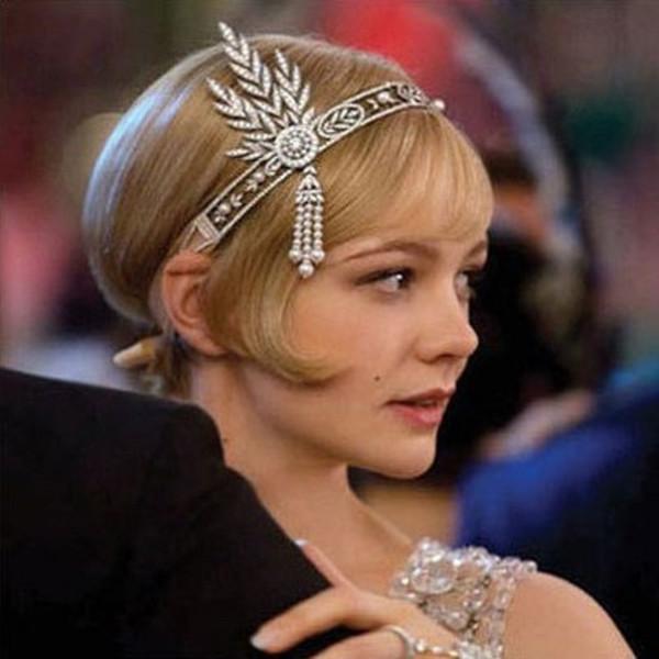 El gran Gatsby diadema nupcial accesorios para el cabello perla borla hoja casco de la boda accesorios de joyería de cristal Tiara Hairband