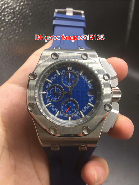 Hot Sell sports fashion top quality multifunctional quartz male watch stainless steel case blue rubber band blue face size 43mm pin buckle