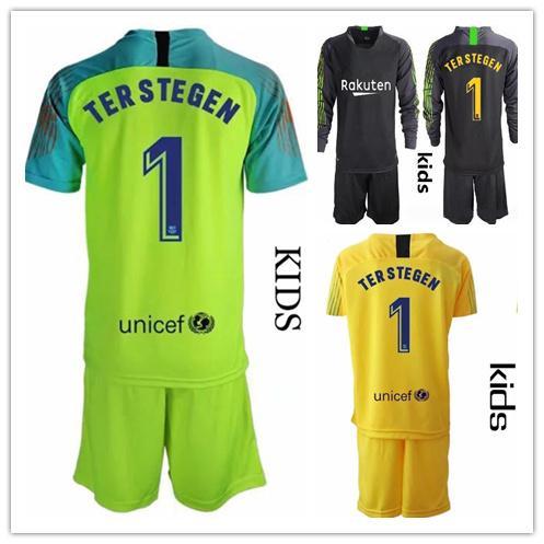 19 20 Niños Jóvenes largo Ter Stegen Conjunto Portero jerseys del fútbol del kit Niños Sets # 1 Ter Stegen Boy Portero 2019 2020 Niños uniforme de portero