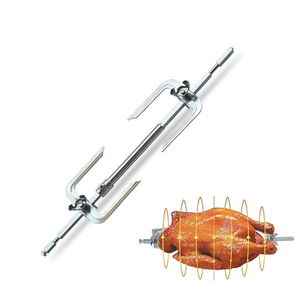 Lemonbest BBQ Oven Roasted Beef Turkey Rotisserie Forks Spit Charcoal Chicken Grill For Outdoor Camping Cooking Tools
