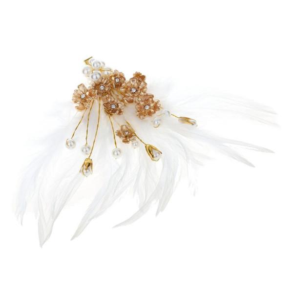 Hair Clip Feather White Gold Flower Pearl Headwear Wedding Feast Headdress Clips Women Jewelry Decoration Luxury Fashion
