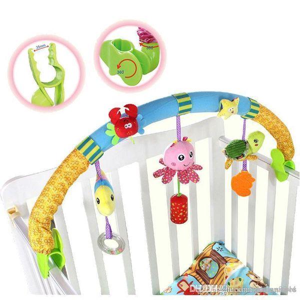 ht al por mayor de juguetes para niños cascabeles cama para el automóvil del cochecito de juguete de felpa pinza de torno que cuelgan de los asientos cama juguetes infantiles para lactantes Brinquedos LF142
