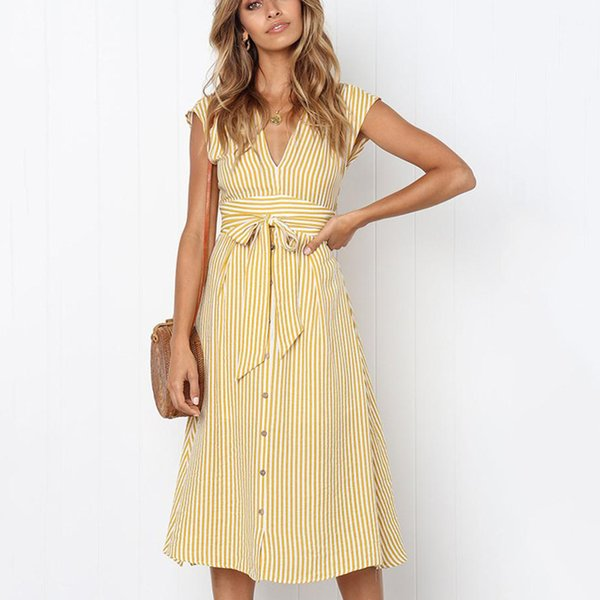 Beforw 2019 donne Beach Summer Dress Sexy scollo a V senza maniche pulsante a strisce abiti lunghi donna casual vestito da partito vestidos Y19041801