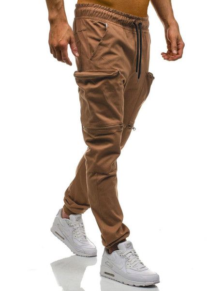 Men Joggers Casual Pants Men Brand Clothing Autumn Multi-Pocket Camouflage Pants Elastic Male Trousers Mens Joggers 3XL Solid New lepin