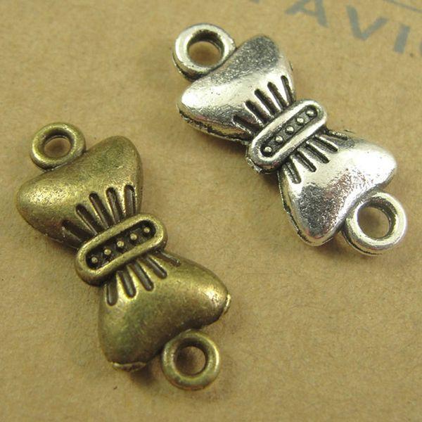19 * 8MM Bronze Antique Ancient Korean Bow Ornament 2015, nouvelles connexions, perles de charme connecteur bowknot, breloques argent tibétain
